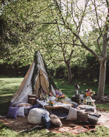 bridal shower teepee set up