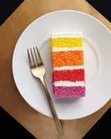 wedding cake with colorful slices