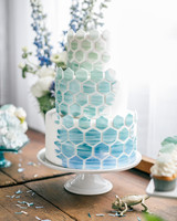 Honeycomb Wedding Inspiration, Wedding Cake with Ombre Honeycomb Pattern