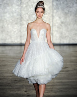 inbal dror wedding dress fall 2018 tea length tulle strapless deep v