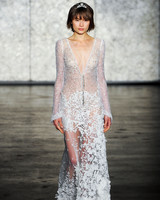 inbal dror wedding dress fall 2018 embellished deep v long sleeves