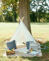 jen geoff wedding kids play tent