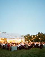 jen geoff wedding outdoor reception tent