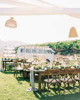 jena donny wedding outdoor reception tables and photo booth van