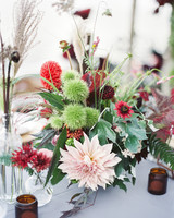 jewel-toned centerpiece with blush dahlia