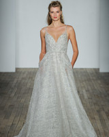 lazaro fall 2018 v-neck metallic silver wedding dress