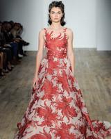lazaro fall 2018 red metallic wedding dress