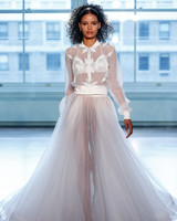 justin alexander wedding dress spring 2019 long sleeves collar sheer a-line