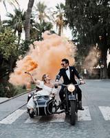karolina sorab wedding couple smoke bomb on motorbike