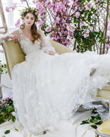 long sleeves tulle marchesa wedding dress spring 2018