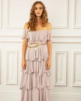 maria korovilas wedding dress spring 2017 rose layered long gold belt