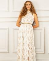 maria korovilas wedding dress spring 2017 lace metallic gold belt