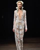 naeem khan wedding dress fall 2018 flowers sheer deep v long sleeves jumpsuit