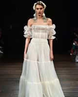 naeem khan wedding dress fall 2018 off the shoulder peasant ruffles