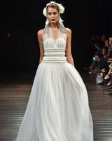 naeem khan wedding dress fall 2018 a-line halter tulle