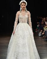 naeem khan wedding dress fall 2018 lace illusion neckline long sleeves