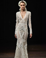 naeem khan wedding dress fall 2018 long sleeves v-neck crochet