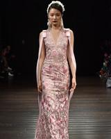 naeem khan wedding dress fall 2018 pink floral v-neck