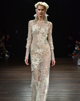 naeem khan wedding dress fall 2018 long sleeve floral embellished