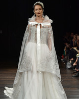 naeem khan wedding dress fall 2018 lace cape embellished