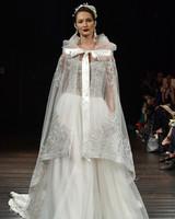 naeem khan wedding dress fall 2018 lace cape embellished