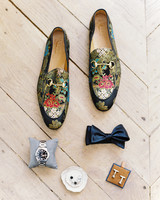 embroidered gucci loafers, bowtie, and watch