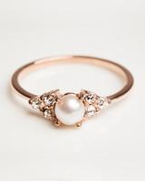 Alya Personalized 14-Karat Rose Gold Pearl Engagement Ring