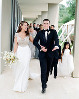 rae rob wedding bridal party walking