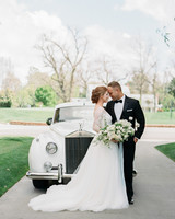 wedding couple car