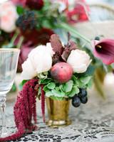 pink red floral gold vase centerpiece