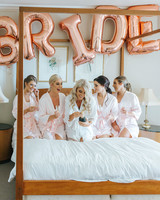 rose gold wedding ideas wedding balloons spelling out bride