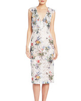 Monique Lhuillier Sleeveless Floral Mother of the Bride Dress