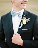 something blue gray blue bowtie pocket square and ribbon