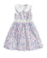 summer flower girl dress blue pattern white collar