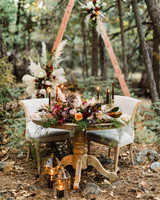 sweetheart table outdoor romantic candles in nature
