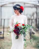 Trailing Red Wedding Bouquet with Foliage