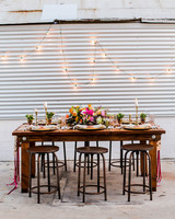 wooden table with wooden stools