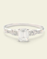 Emerald-Cut Diamond Ring with Cinched Shoulders