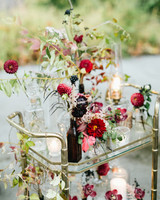 wedding bar cart featuring wildflowers