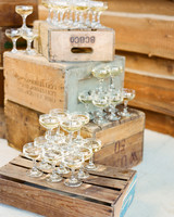 wedding champagne towers on rustic crates