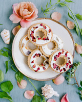 Dried flowers and herbs topped round cookies