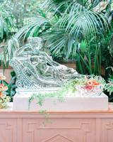wedding ice sculpture fruit display
