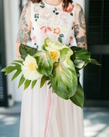 bride with unconventional bouquet