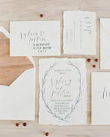wedding invitation with wood-inspired envelope liner