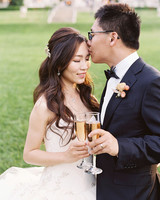 yiran yexiang wedding couple hair down cheers glasses kiss
