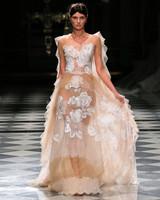 yolancris rose embellished sheer tulle wedding dress spring 2018