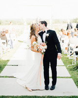 amanda chuck wedding recessional bride and groom kiss