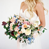 Blue, Pink, and Red Wedding Bouquet