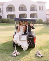 ashlie adam alpert wedding couple in golf cart