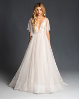 blush hayley paige elbow length sleeves deep v a line wedding dress spring 2020